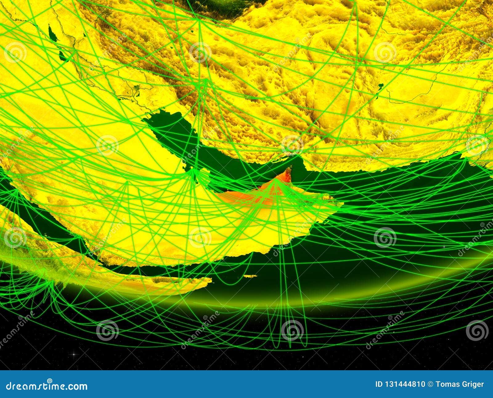 Verenigde Arabische Emiraten op groen model van aarde met netwerk die digitaal tijdperk, reis en mededeling vertegenwoordigen 3d