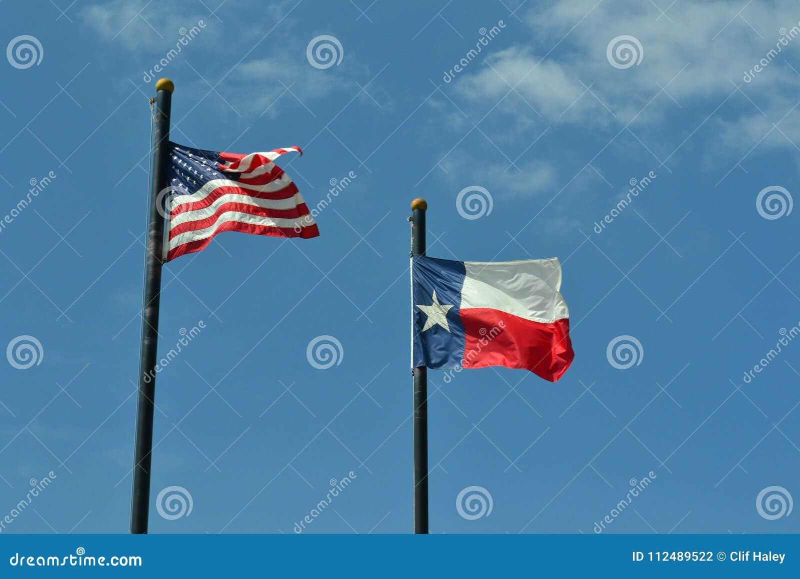 Verenigde Staten en Texas Flags Against Blue Sky