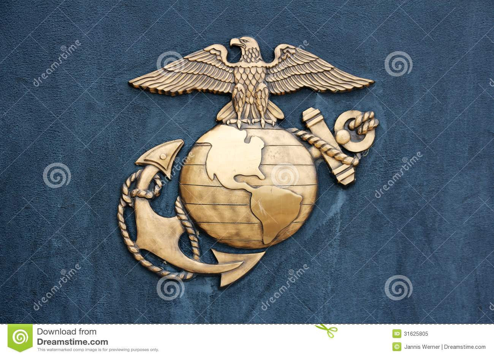 Verenigde Staten Marine Corps Insignia in Goud op Blauw