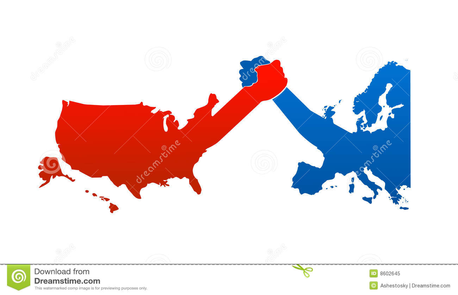 Verenigde Staten Tegenover Europa Vector Illustratie