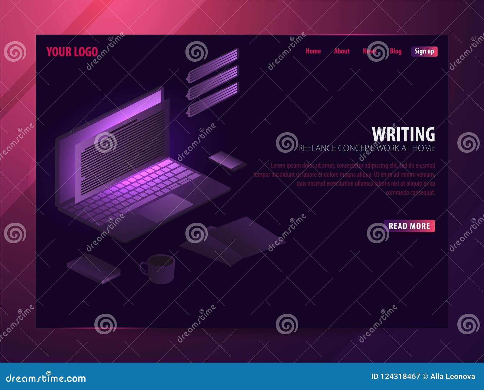Verfasser Kann für Netz Fahne oder infographics verwenden Freiberuflich tätiges Konzept Arbeit zu Hause
