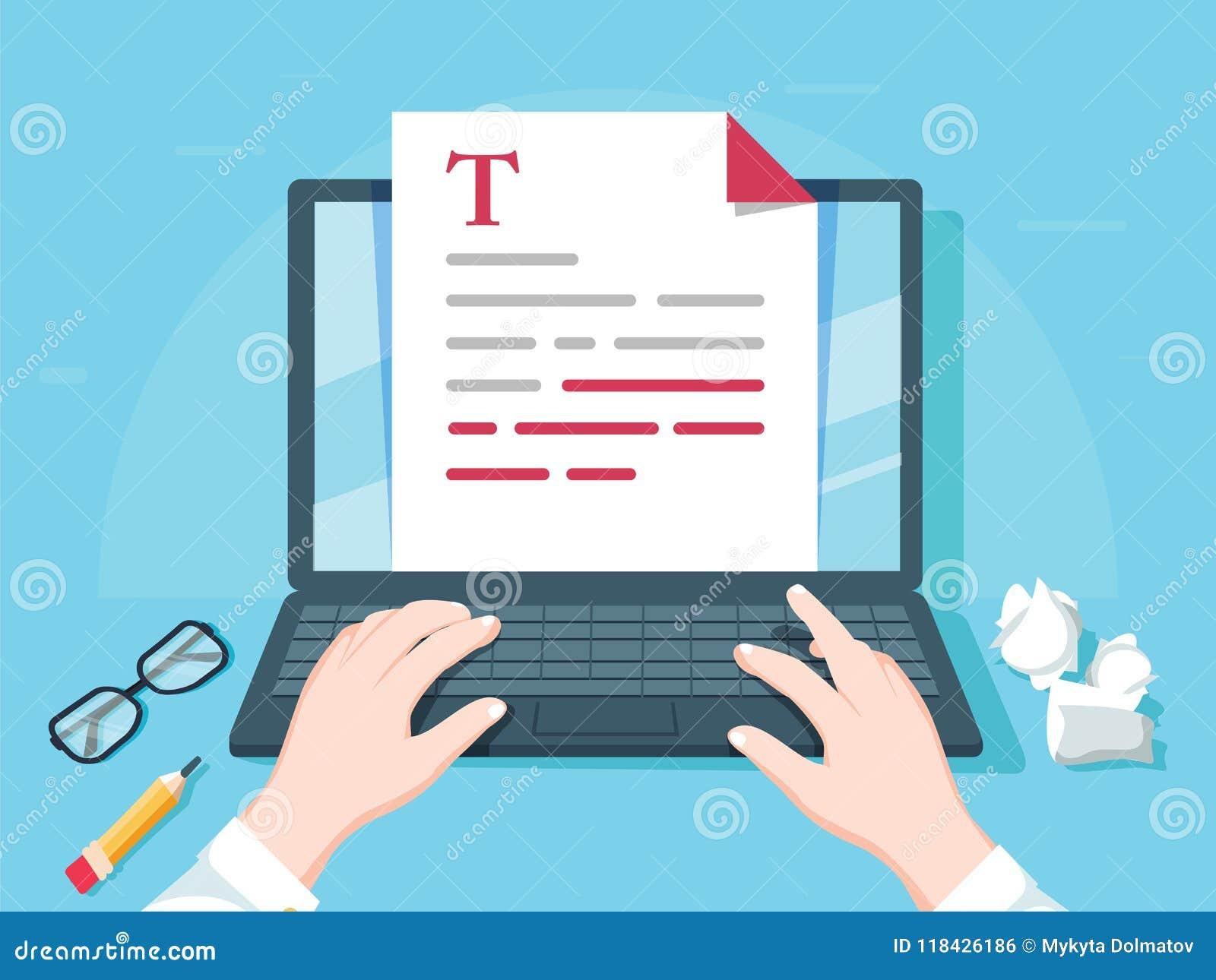 Verfasserschreiben auf Computerpapier-Blattvektorillustration, flacher Karikaturpersonenherausgeber schreiben elektronischen Buch
