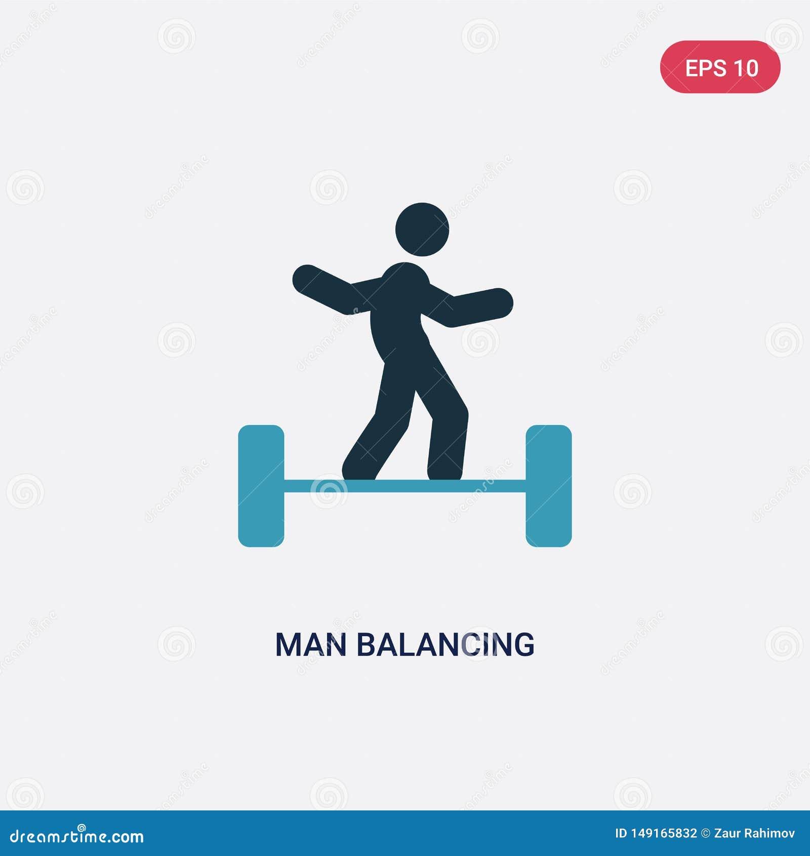 Verfhandelaar twee die vectorpictogram van sportenconcept in evenwicht brengen de geïsoleerde blauwe mens die vectortekensymbool