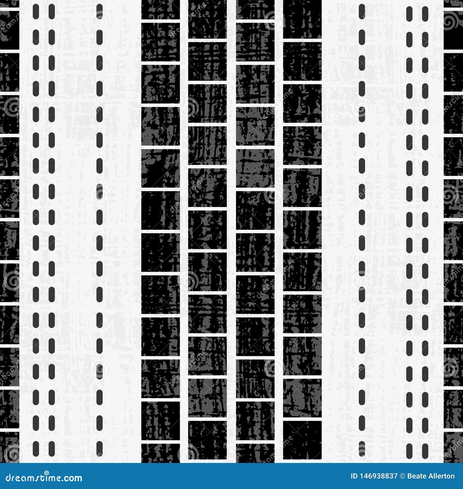 Verfijnd geometrisch zwart-wit vierkanten en steekontwerp met grungetextuur op subtiele geweven grunge