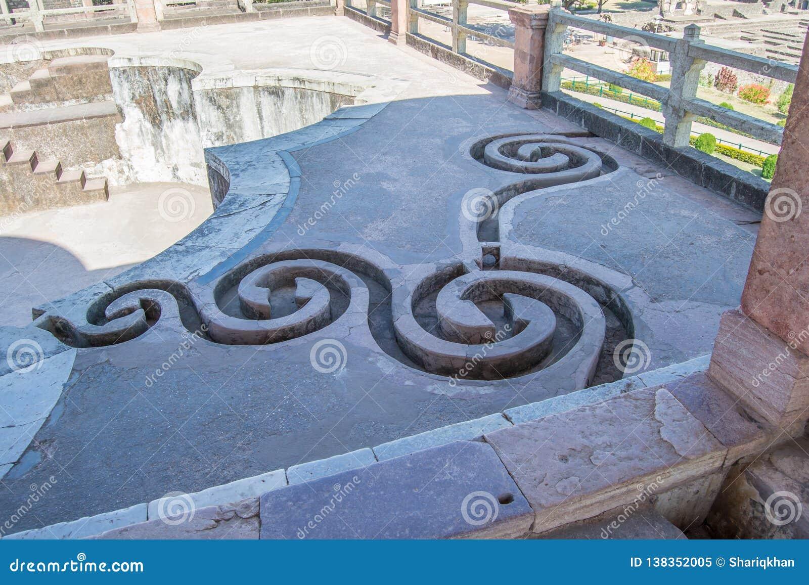 Verfraaide Afvoerkanalen bij de bovenkant van oude pool om dakwater te vangen