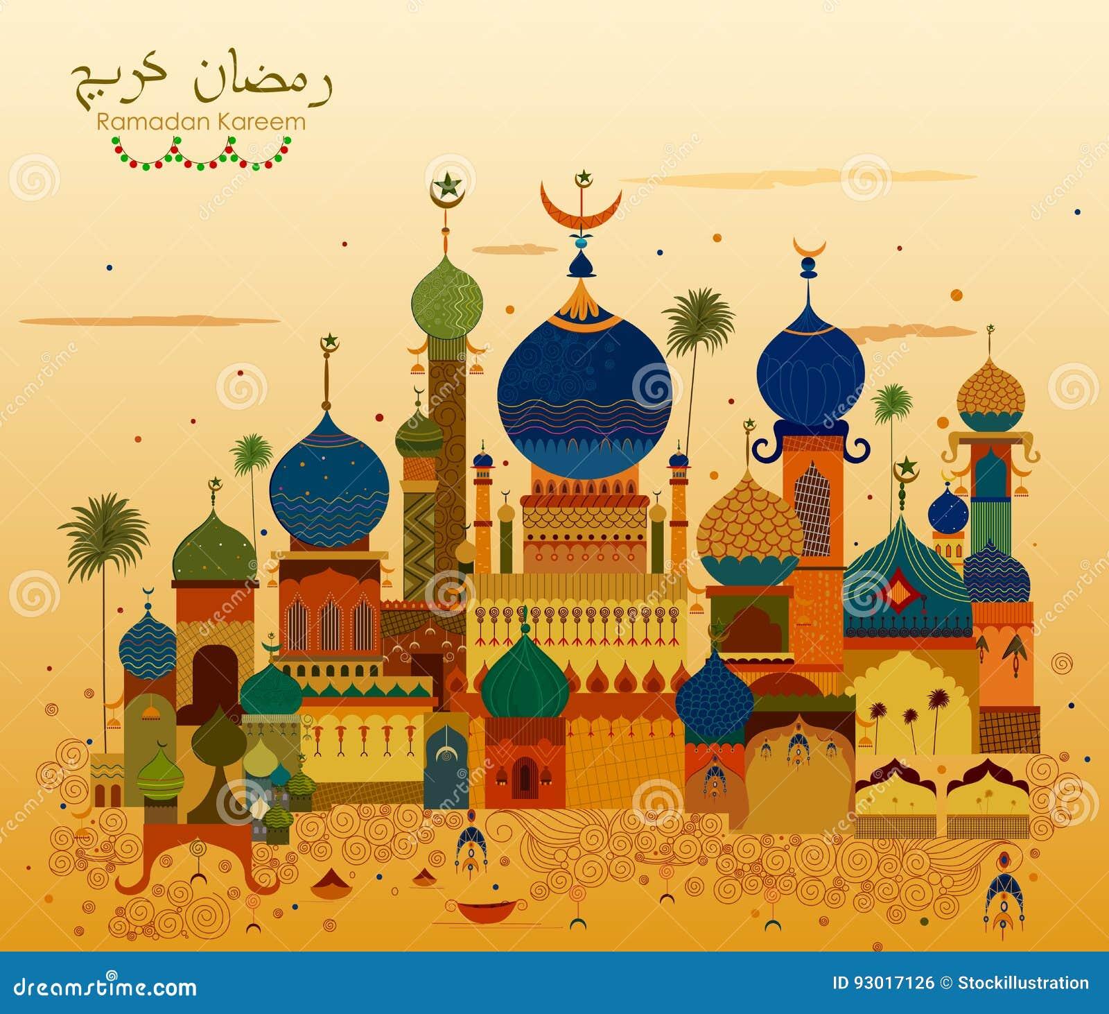 Verfraaide moskee op Eid Mubarak Happy Eid Ramadan Kareem-achtergrond