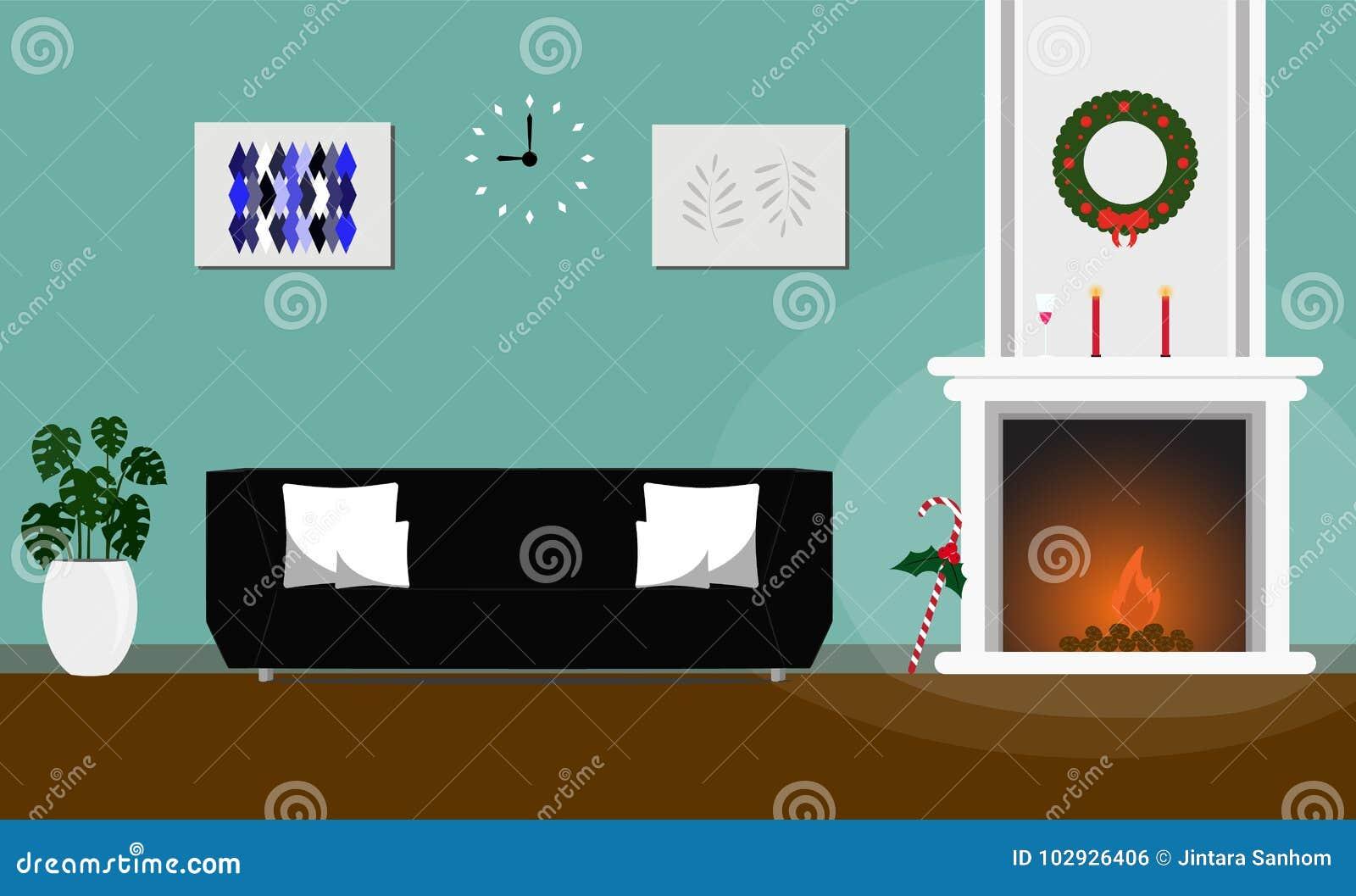 Woonkamer Zwarte Bank : Verfraaide open haard van woonkamer de binnenlandse kerstmis stijl