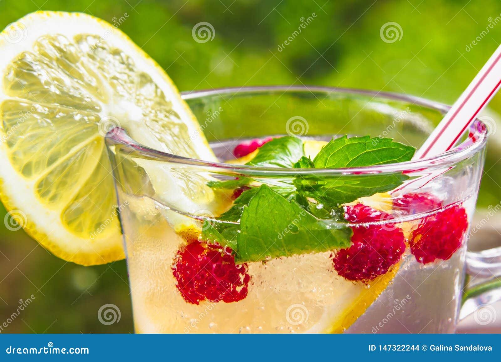 Verfrissende de zomercocktail met citroen, frambozen en muntclose-up
