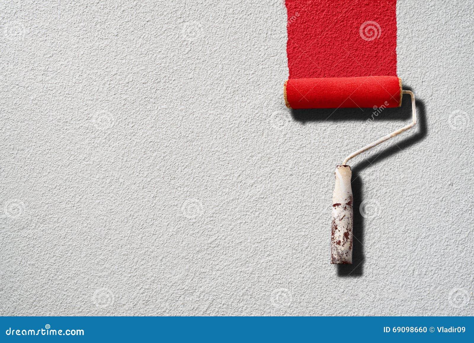 Verfrol het schilderen met rode verf op witte muur stock foto afbeelding 69098660 - Maken rode verf ...