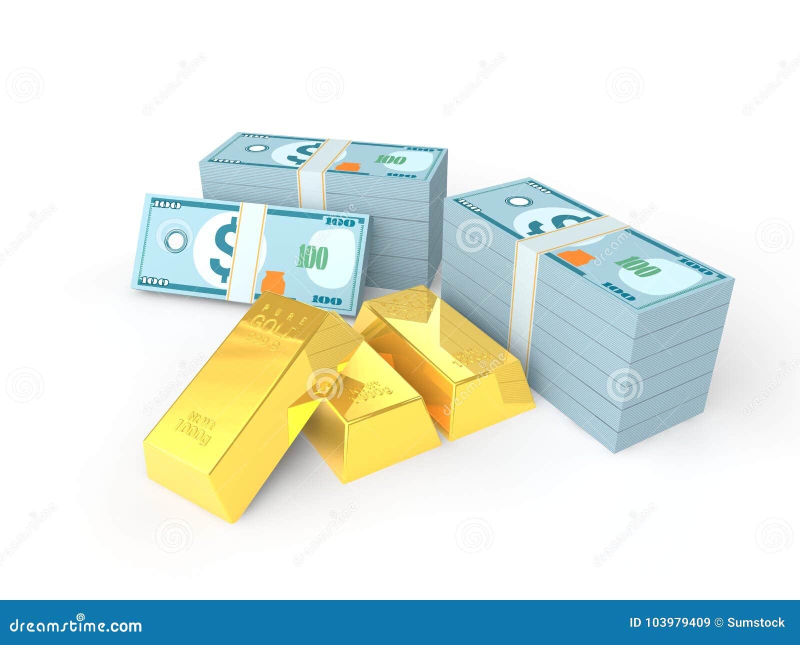 Verga d oro 3D e pacchi di soldi