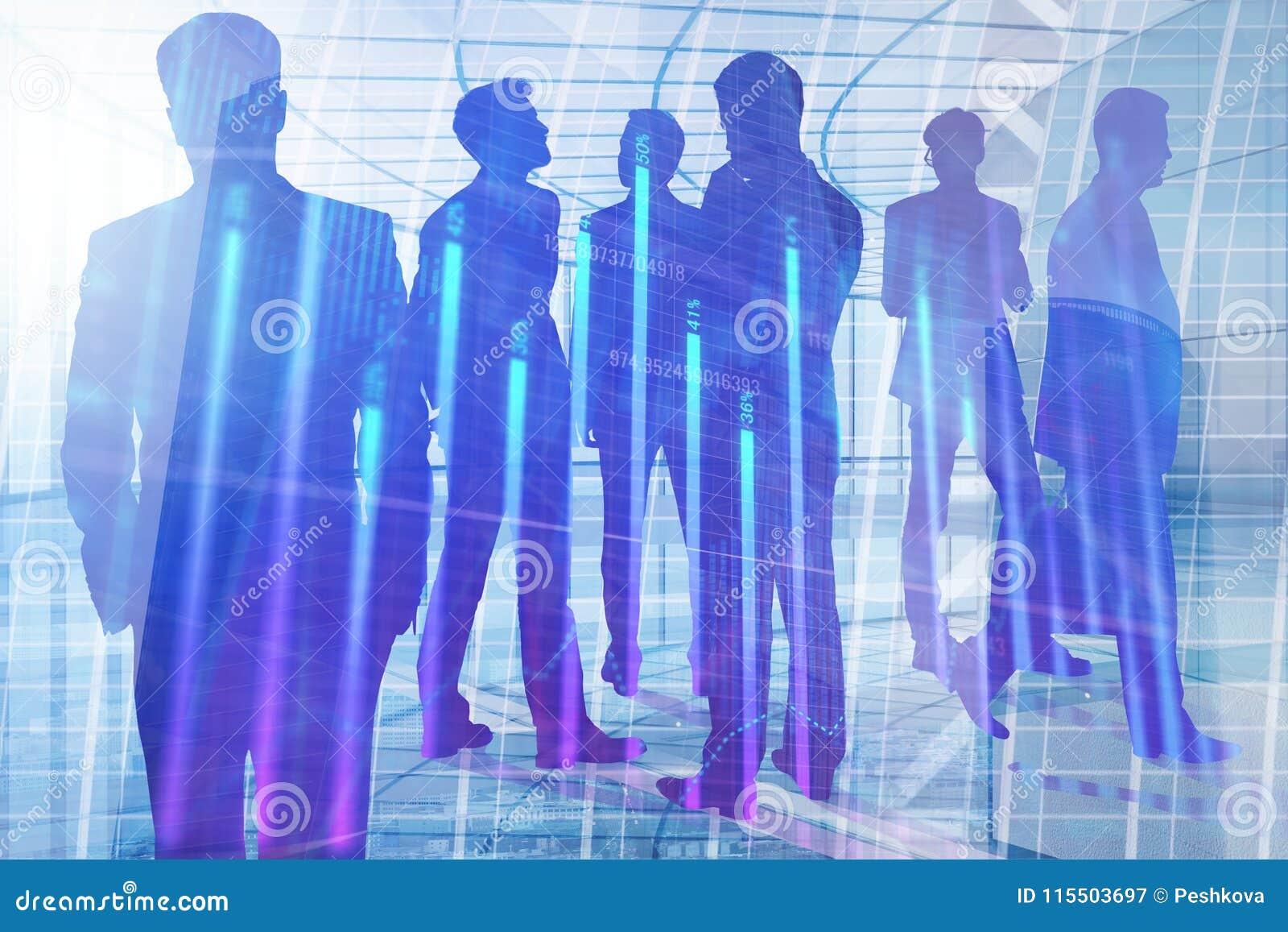 Vergadering, groepswerk, financiën en analyseconcept