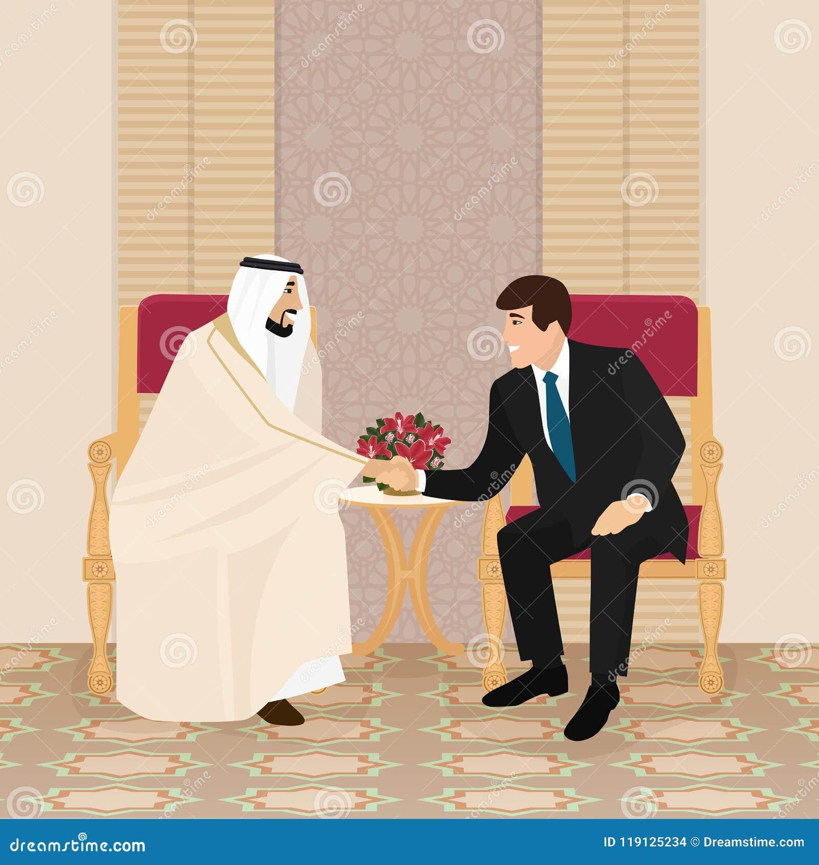 Vergadering van Arabische en Europese zakenlieden of politici