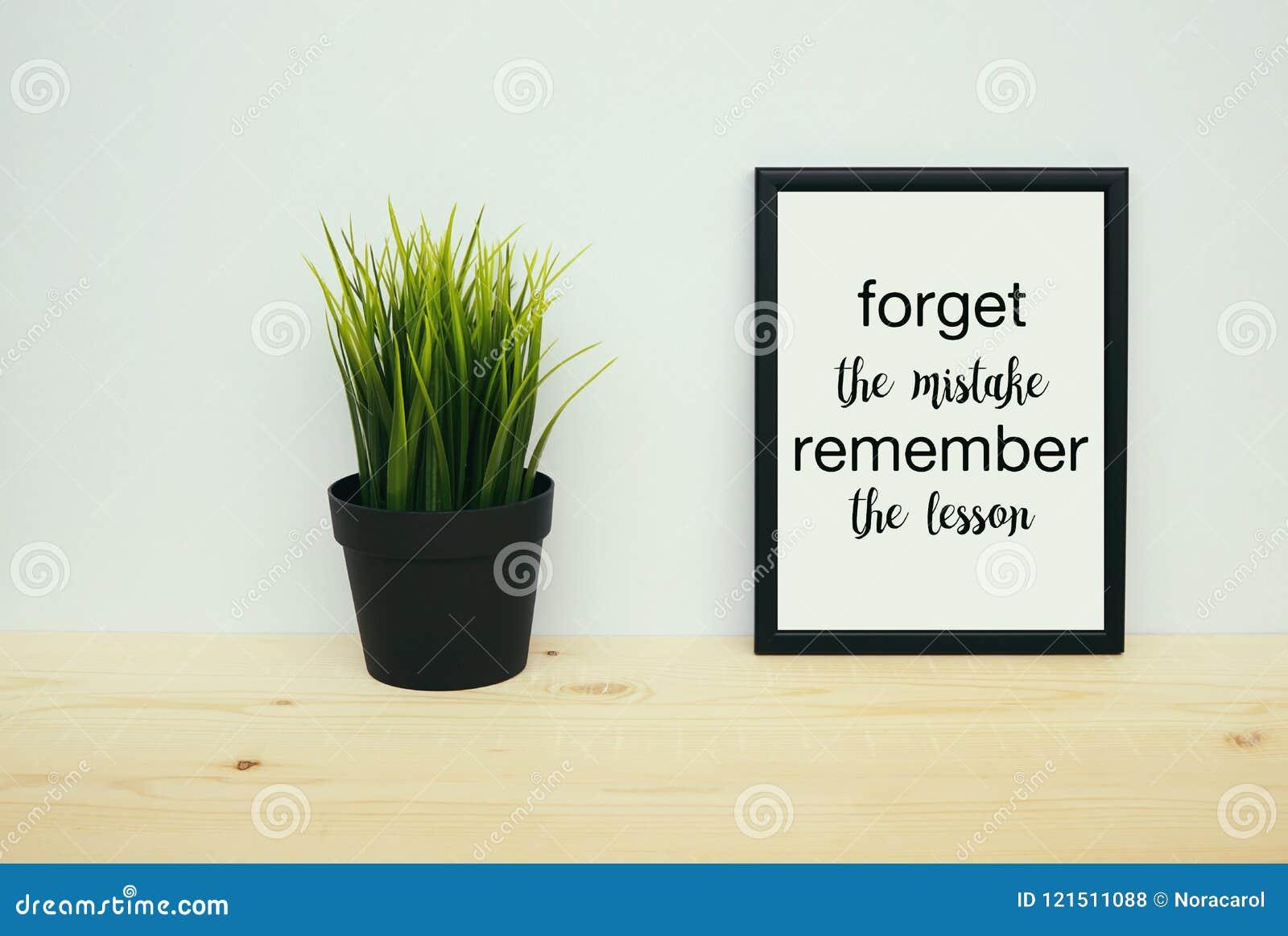 Vergeet de fouten het lessencitaat herinneren