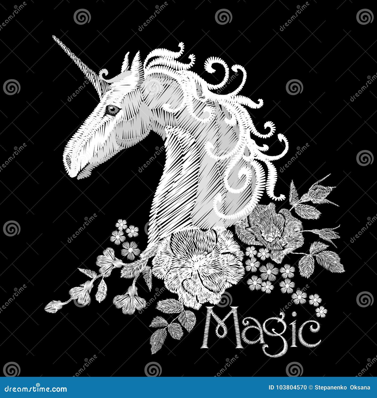 Vergeet het borduurwerk witte bloemenpatroon met hondrozen en me niet bloemen De droomvector van de eenhoornfantasie fairytale
