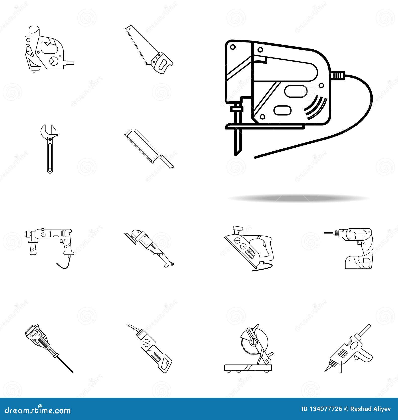 Vergeldend Zaagpictogram Voor Web wordt geplaatst dat en het mobiele algemene begrip van het hulpmiddelpictogrammen van de huisre