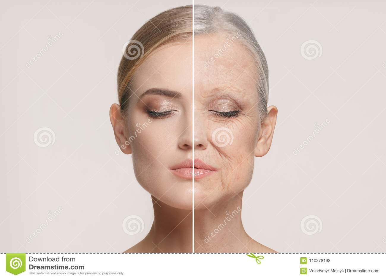 Vergelijking Portret van mooie vrouw met probleem en schoon huid, het verouderen en de jeugdconcept, schoonheidsbehandeling