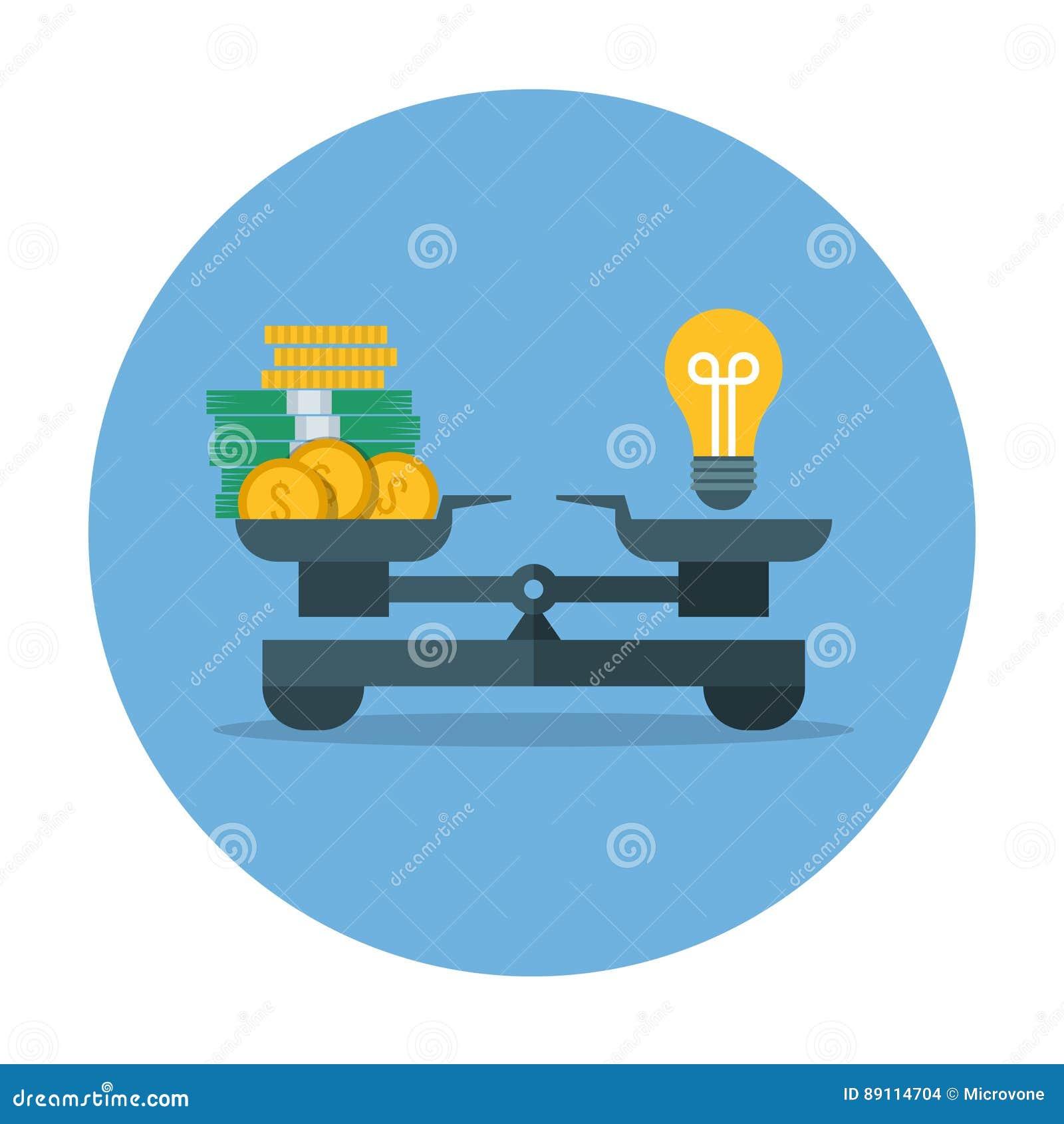 Vergelijking van geldwaarde en idee, bedrijfsmetings vectorconcept