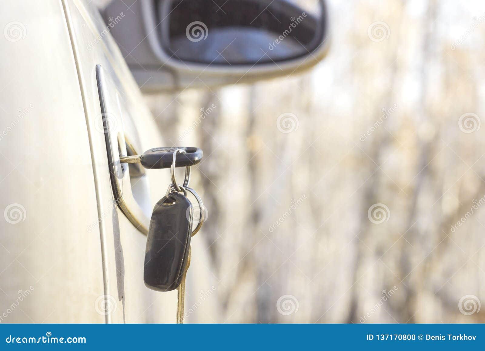 Vergeten autosleutels in de deur, een achtergrond van een onscherp de herfstbos met een bokeheffect