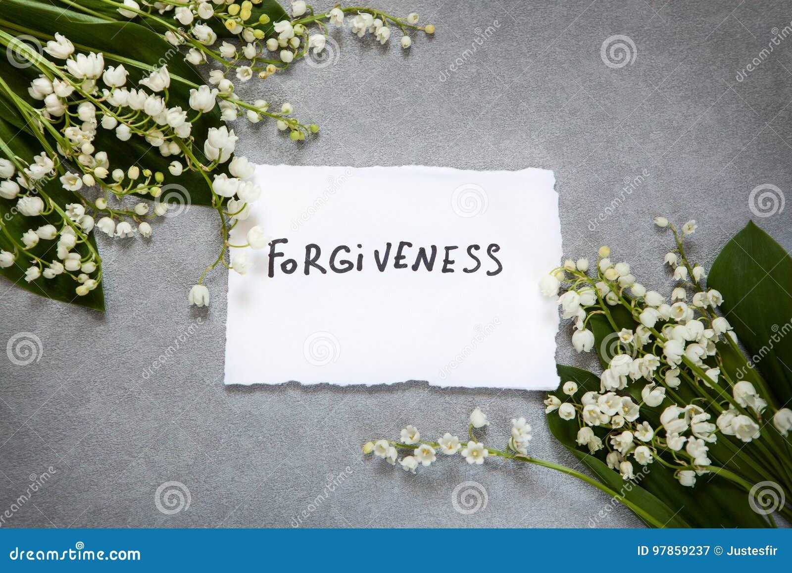 Vergiffeniswoord met witte bloemen