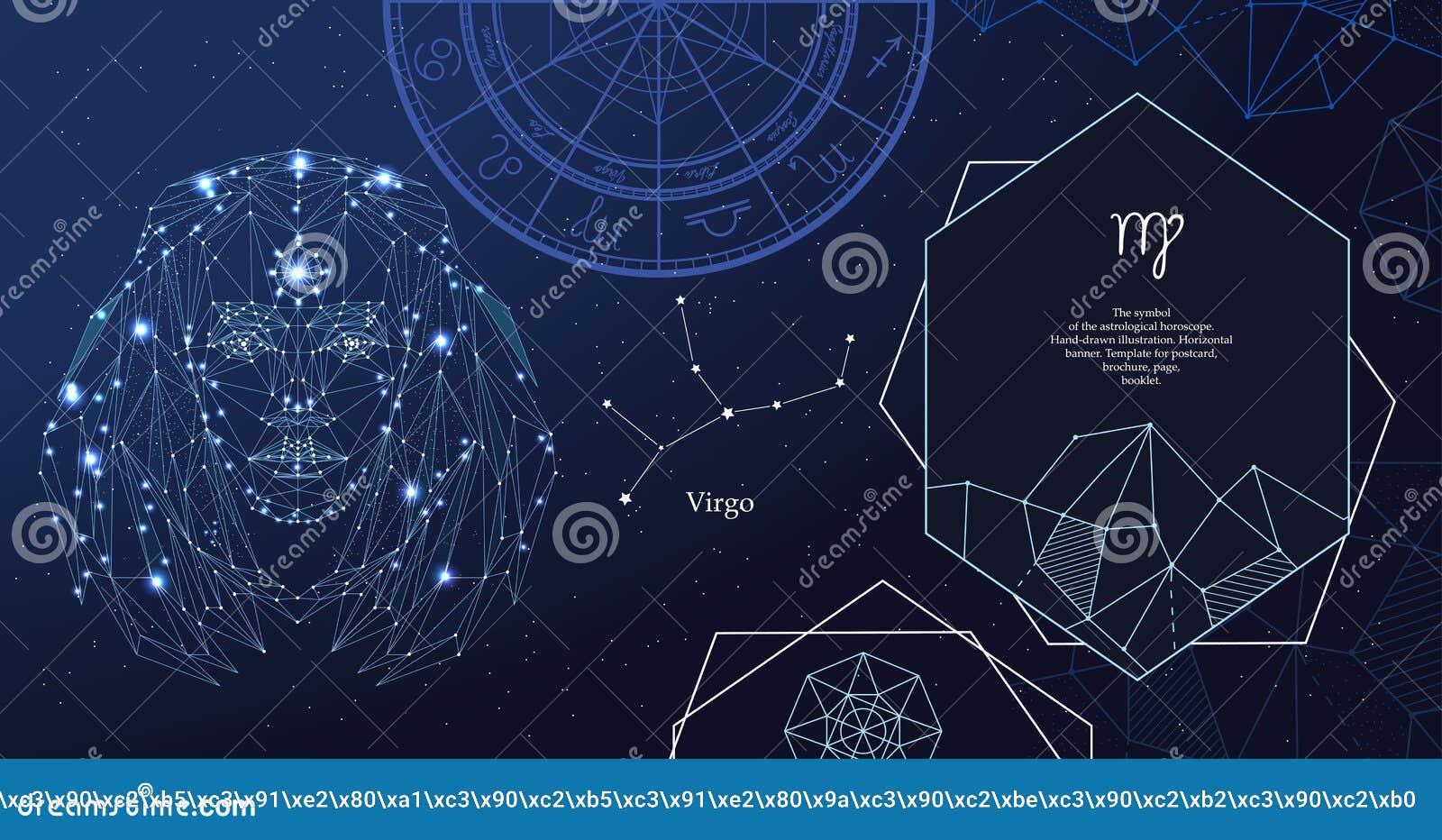 Vergine del segno dello zodiaco Il simbolo dell oroscopo astrologico Insegna orizzontale