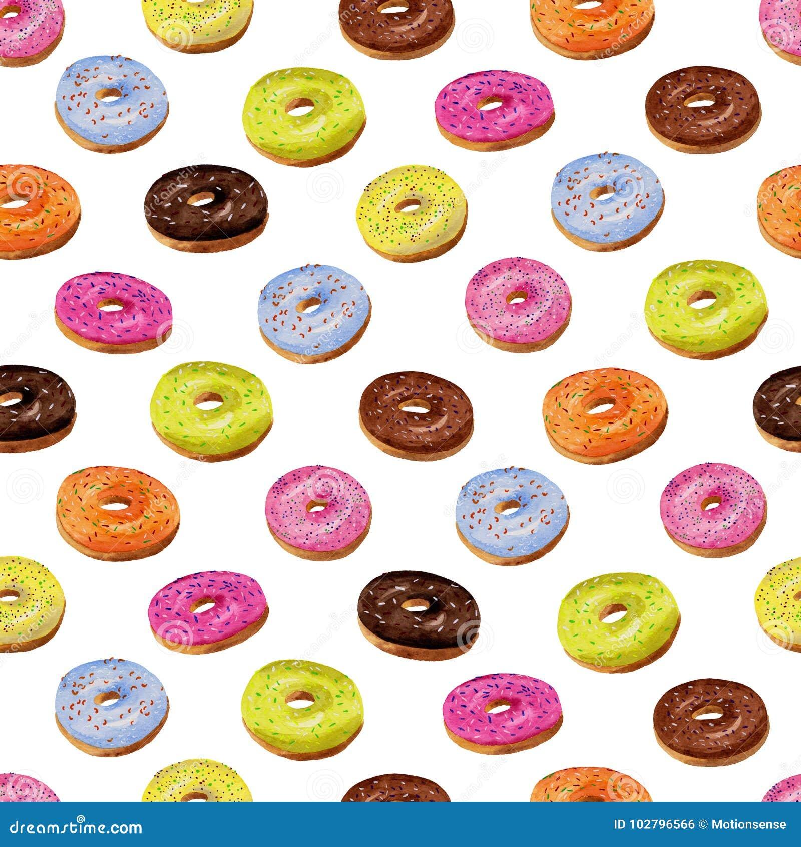 Verglaasd donuts naadloos patroon in waterverf op witte backgroun