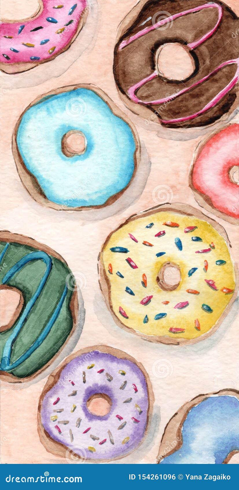 Verglaasd donuts van verschillende de giftkaart van de aroma swaterverf