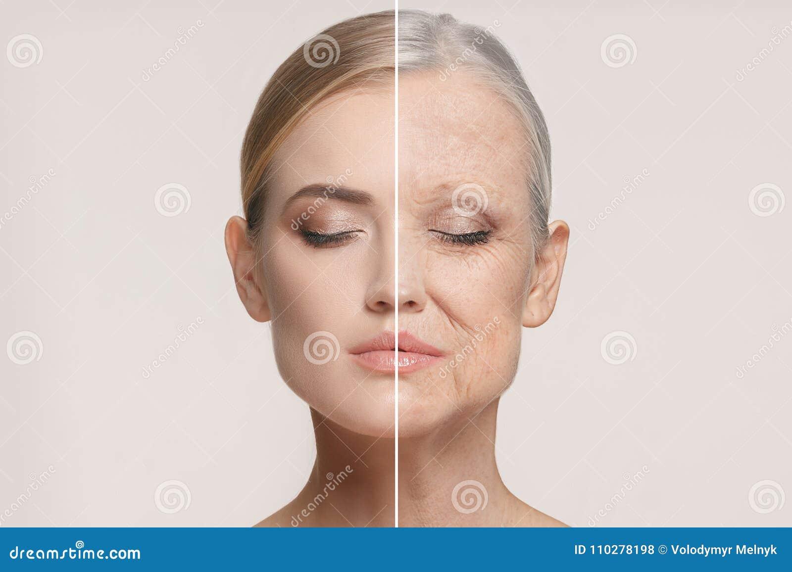 Vergleich Porträt der Schönheit mit Problem und sauberem Haut-, Altern- und Jugendkonzept, Schönheitsbehandlung