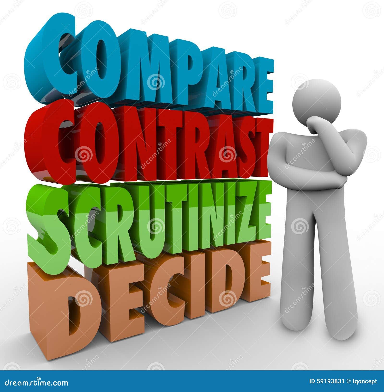Vergleichen Sie Kontrast nachforschen entscheiden denkenden Person Choose Select