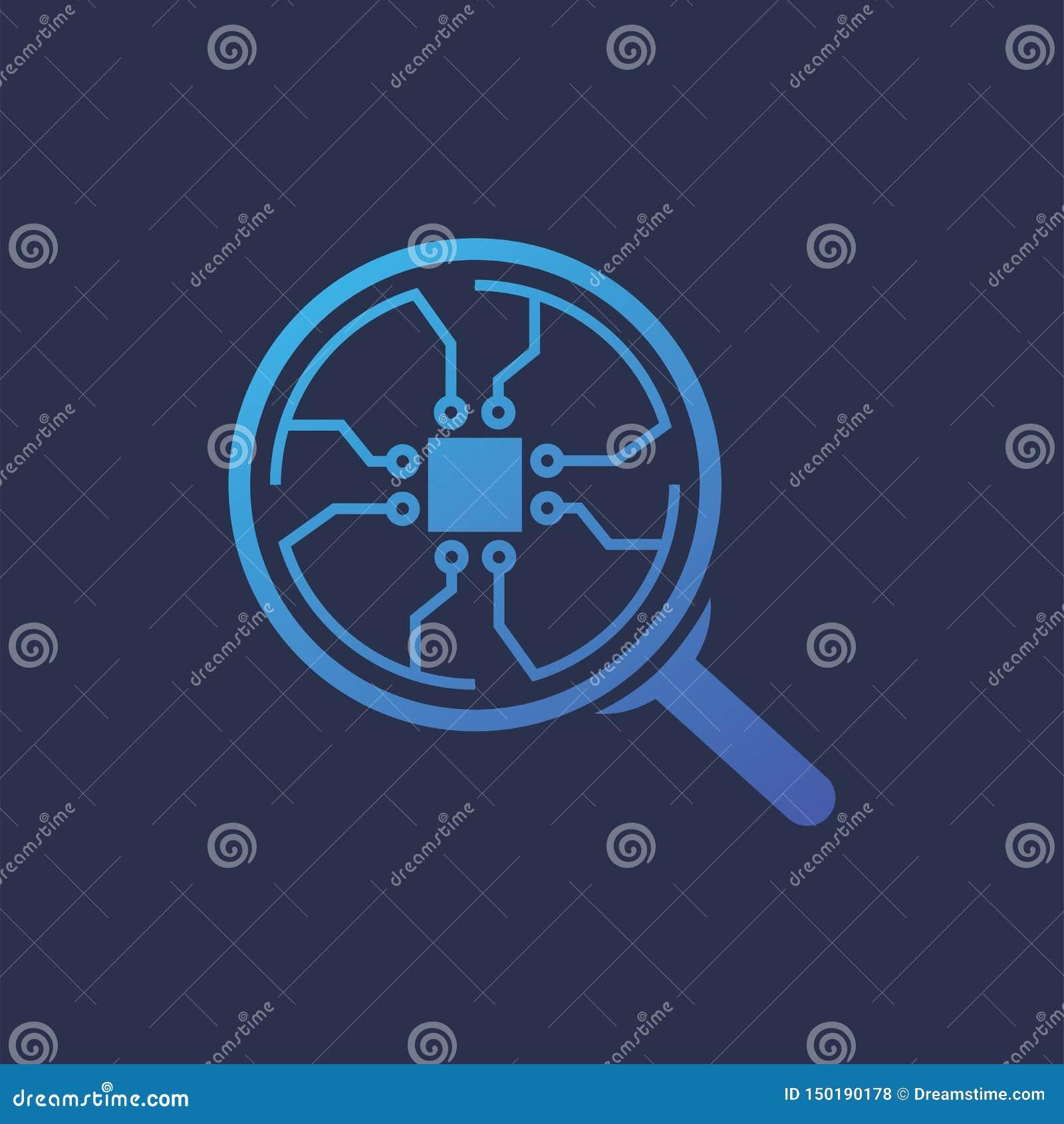 Vergrößerungsglas Chip Connection Circle Logo