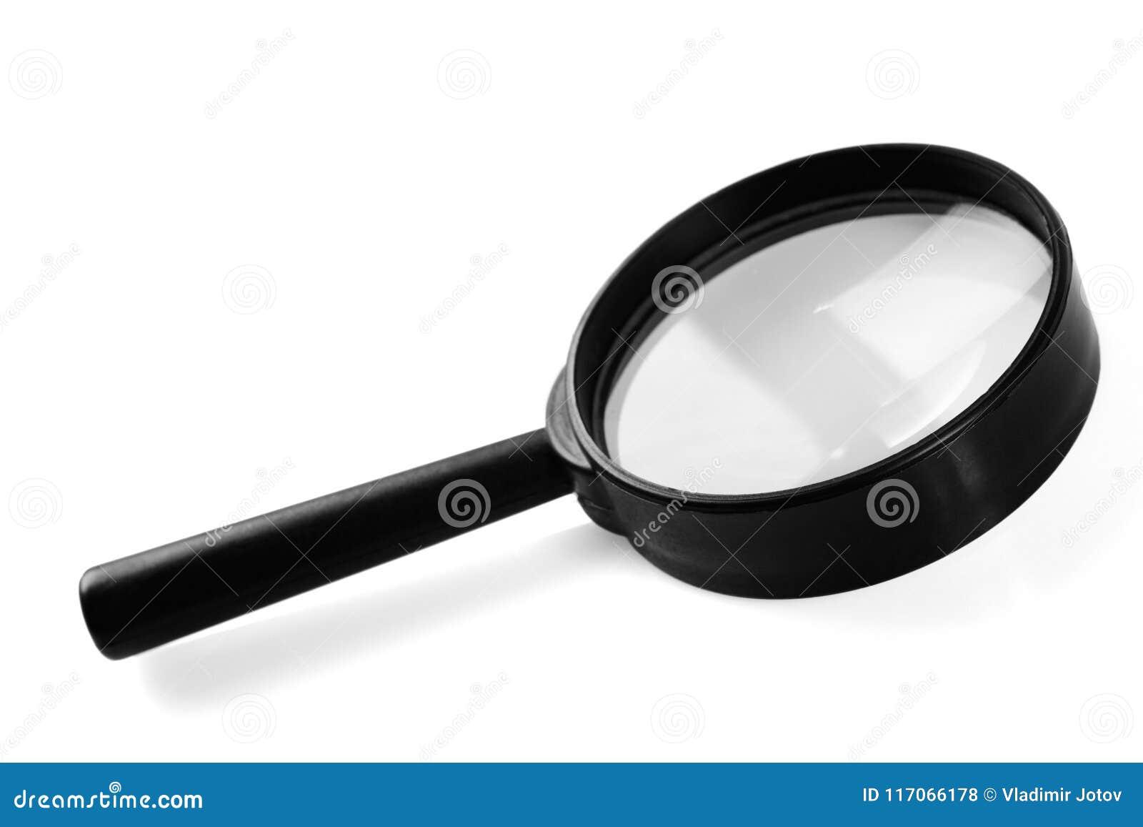 Vergrößerungsglas, getrennt auf weißem Hintergrund