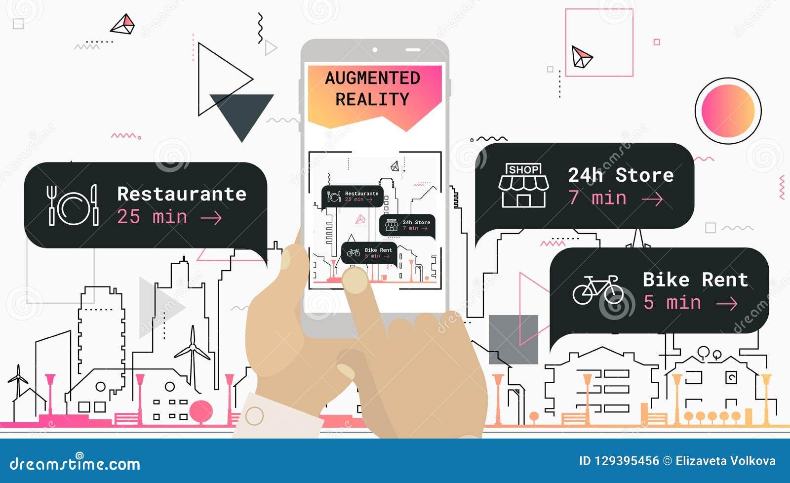 Vergroot het toerisme mobiel app van de werkelijkheidsstad concept