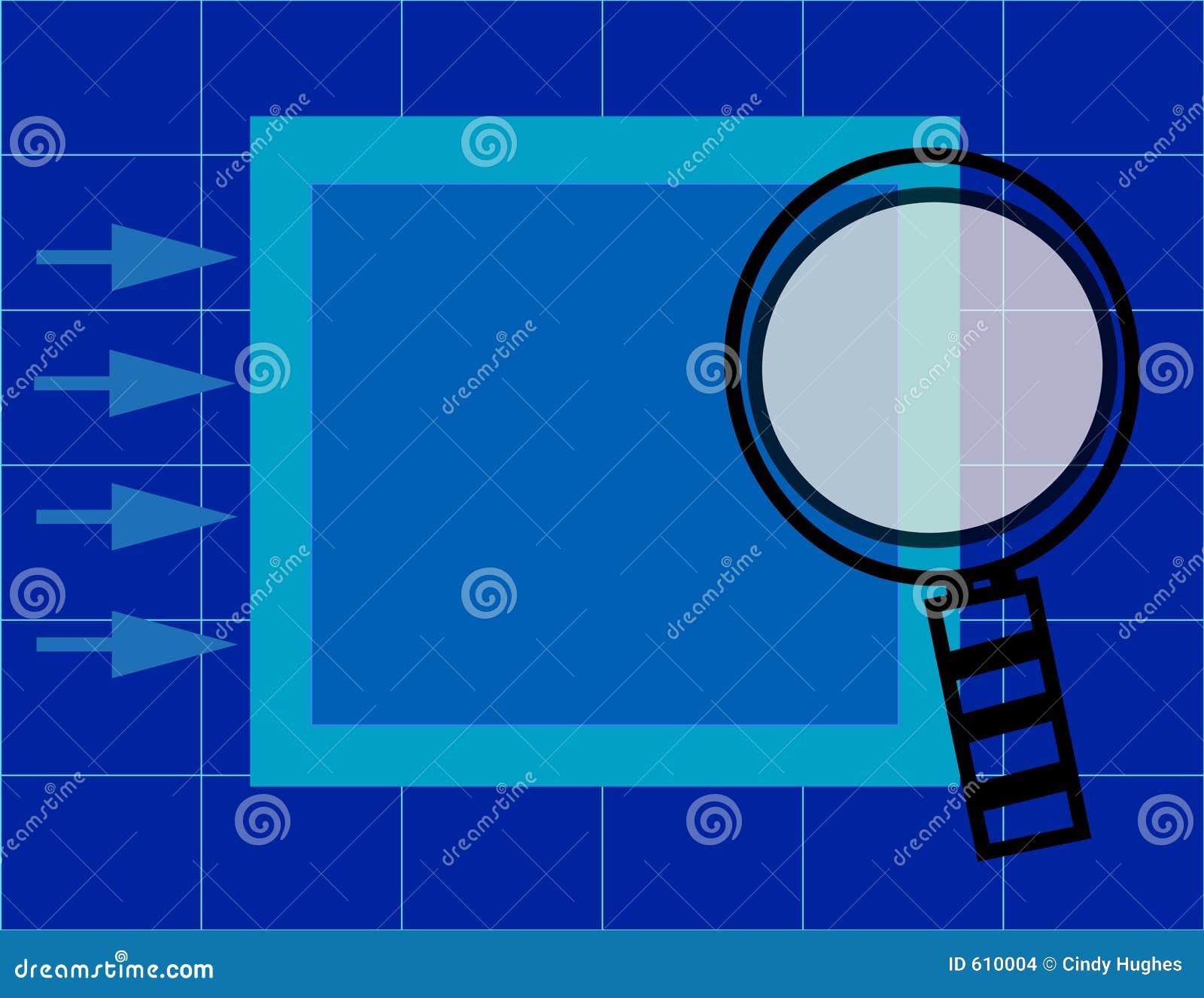 Vergrootglas over presentatieomslag met net