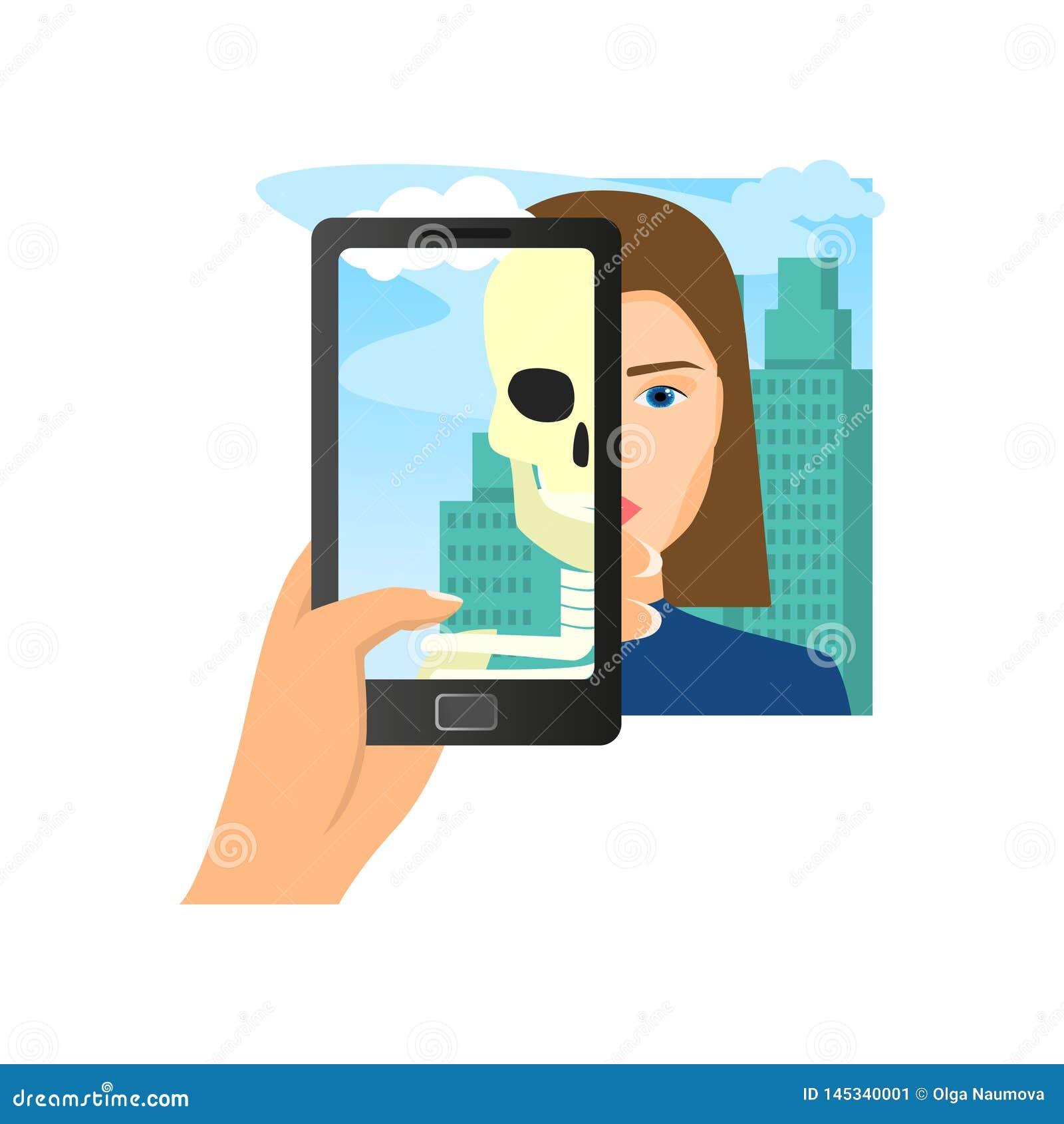 Vergrote werkelijkheid die de vrouwenschedel gebruiken van de smartphonezaag