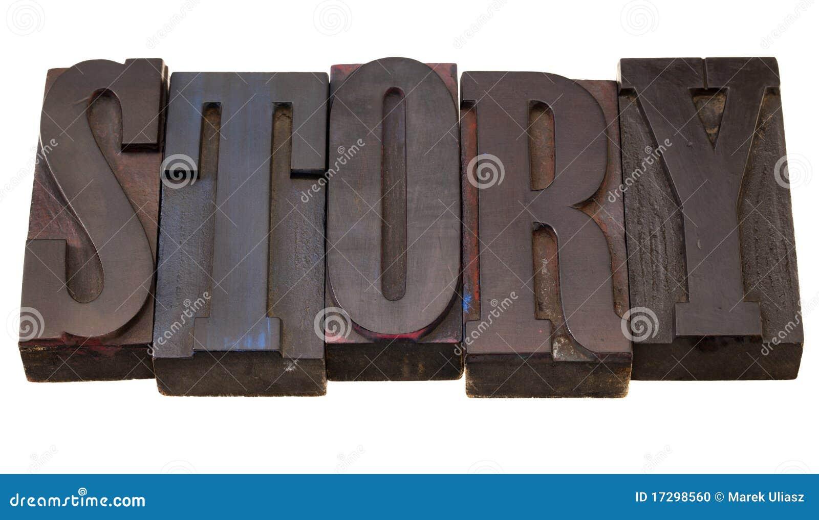 Verhaal - woord in letterzetseltype