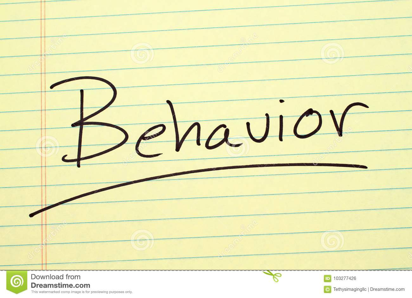 Verhalten auf einem gelben Kanzleibogenblock