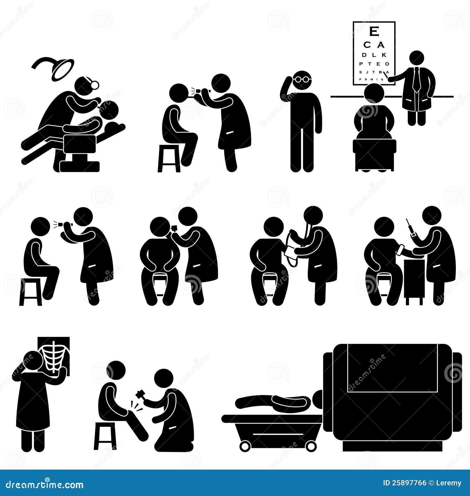 Verificação de corpo médica da saúde acima do pictograma do teste