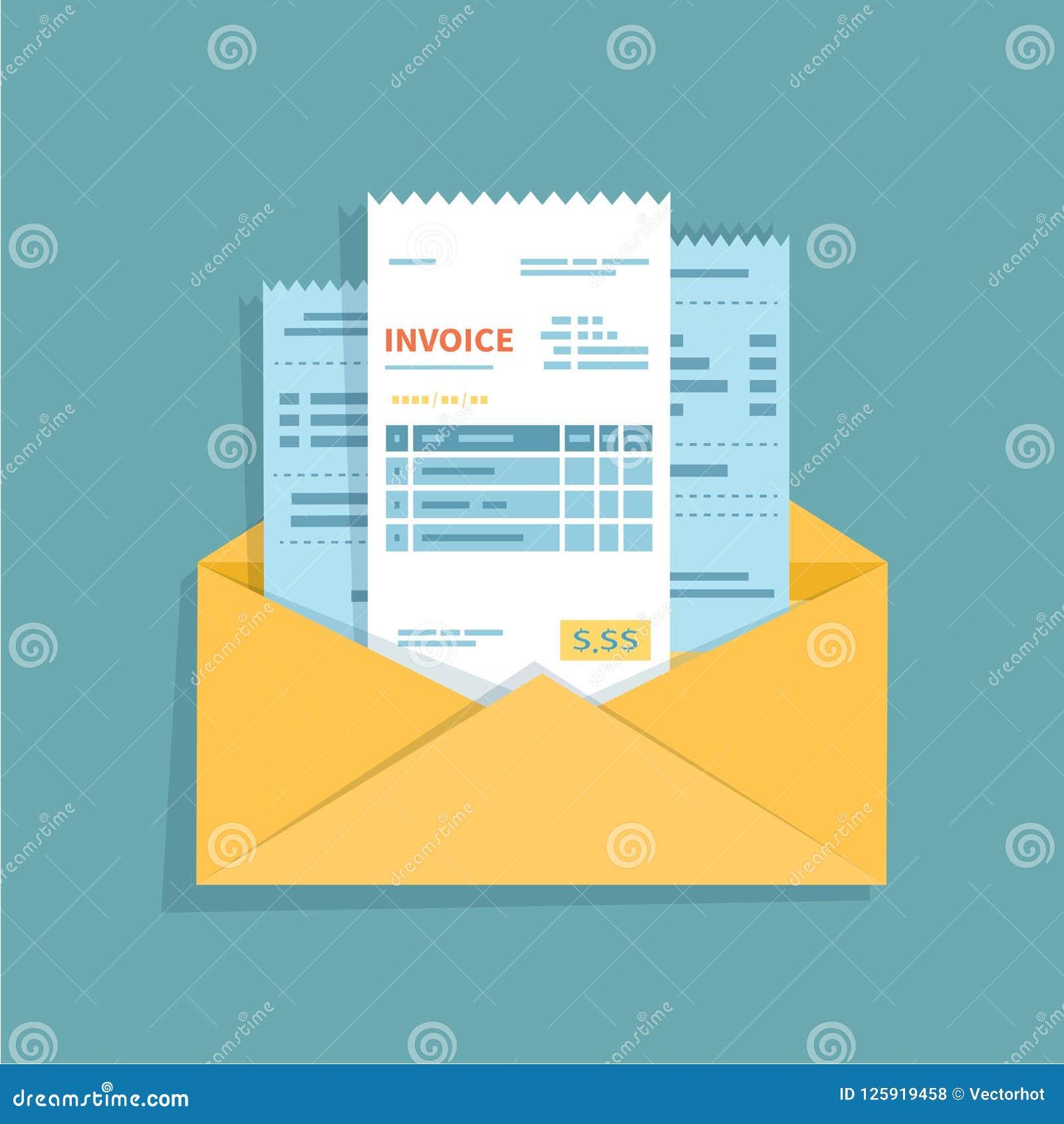 Verificações e faturas em um envelope aberto Conceito das faturas pagamento, faturas, serviços Sinal do negócio ou das operações