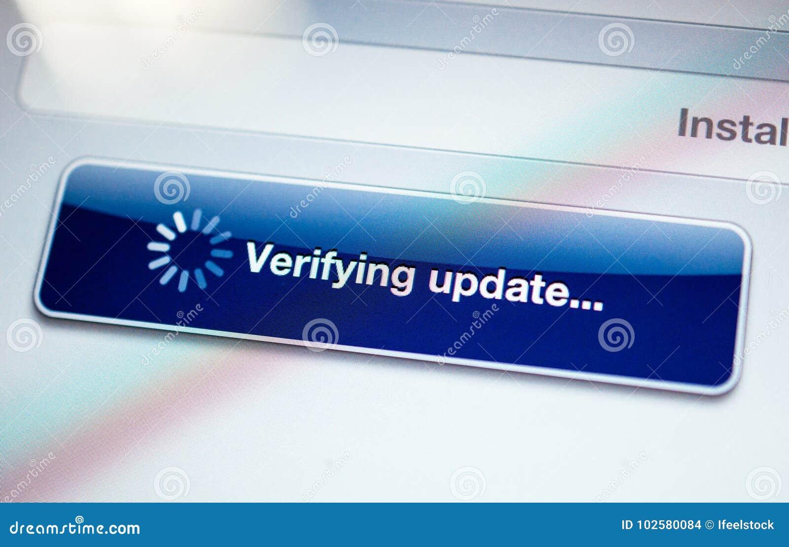 Verificar el mensaje de la actualización con el cursor de giro