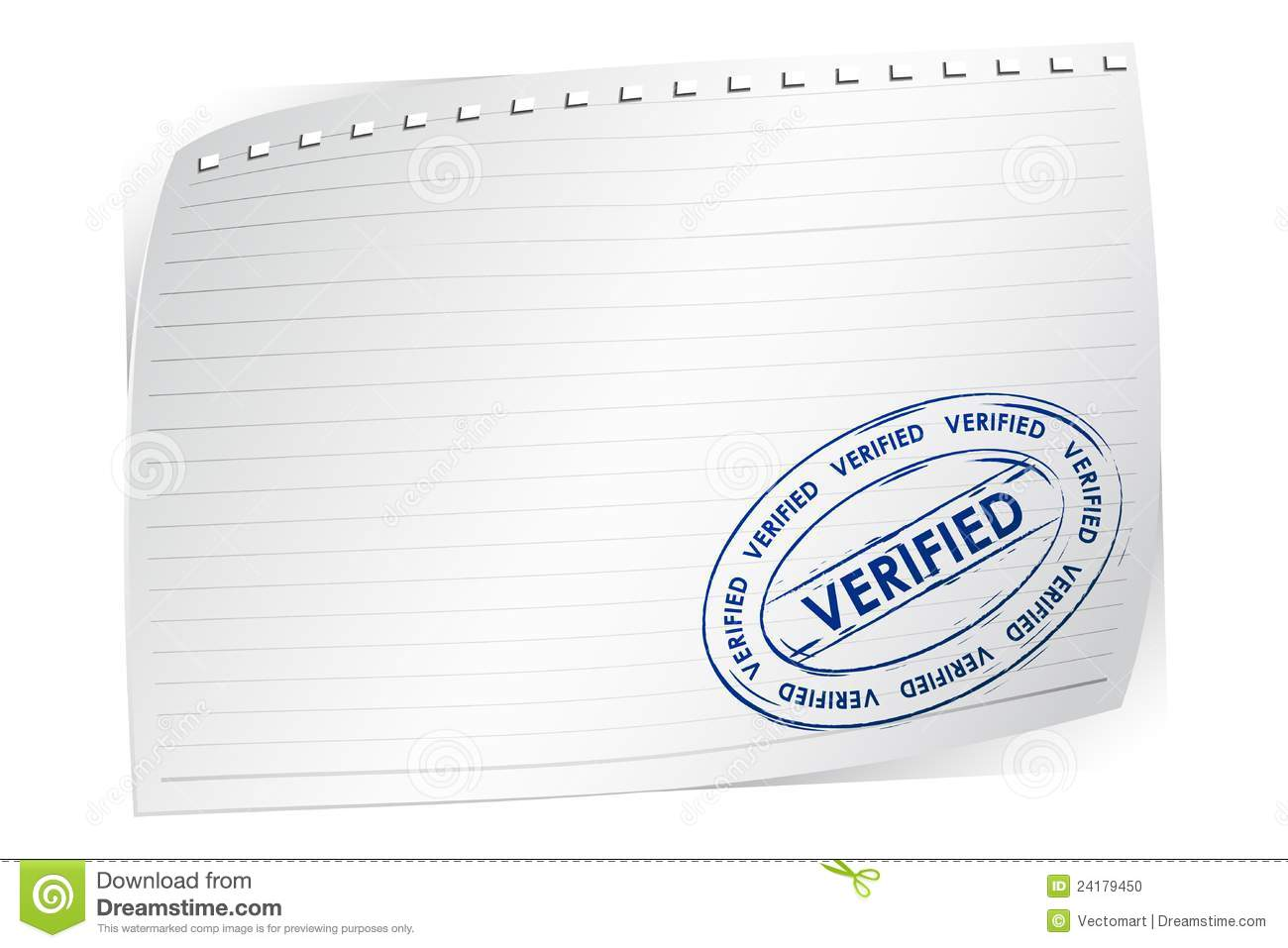 Verified Stamp On Blank Paper Stock Photo