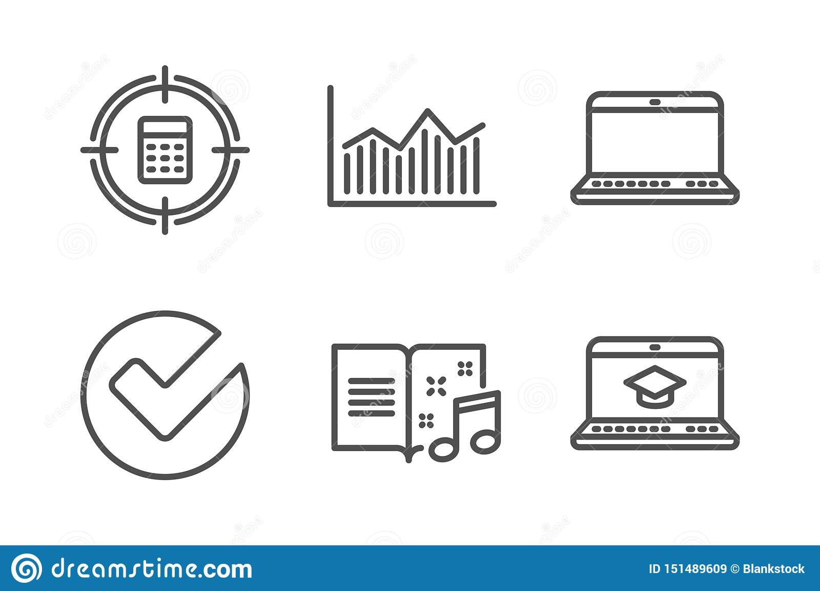 Verifieer, vastgesteld Calculatordoel en Notitieboekjepictogrammen Muziekboek, Gelddiagram en de tekens van het Websiteonderwijs