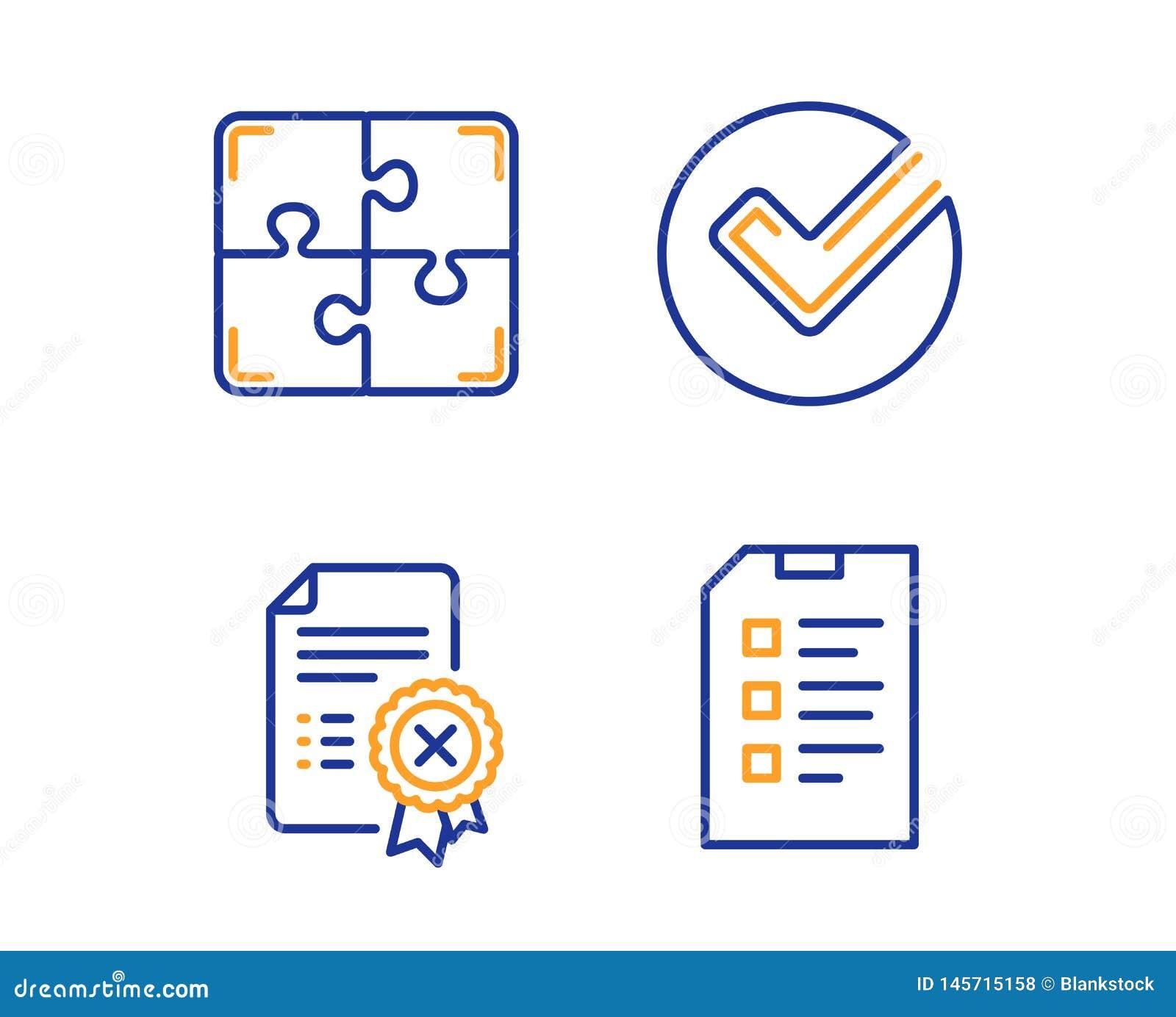 Verifiera, kassera certifikat- och pusselsymbolsupps?ttningen Kontrollistatecken vektor