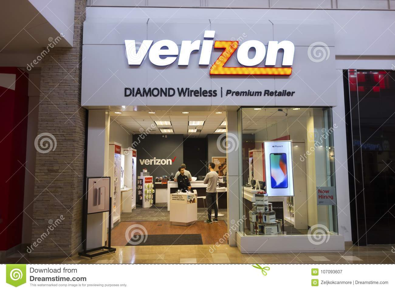Verizon Wireless stockent l avant en Mesa Arizona Shopping Mall