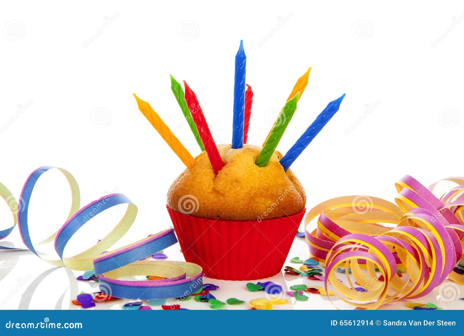 Verjaardag cupcake met kaars