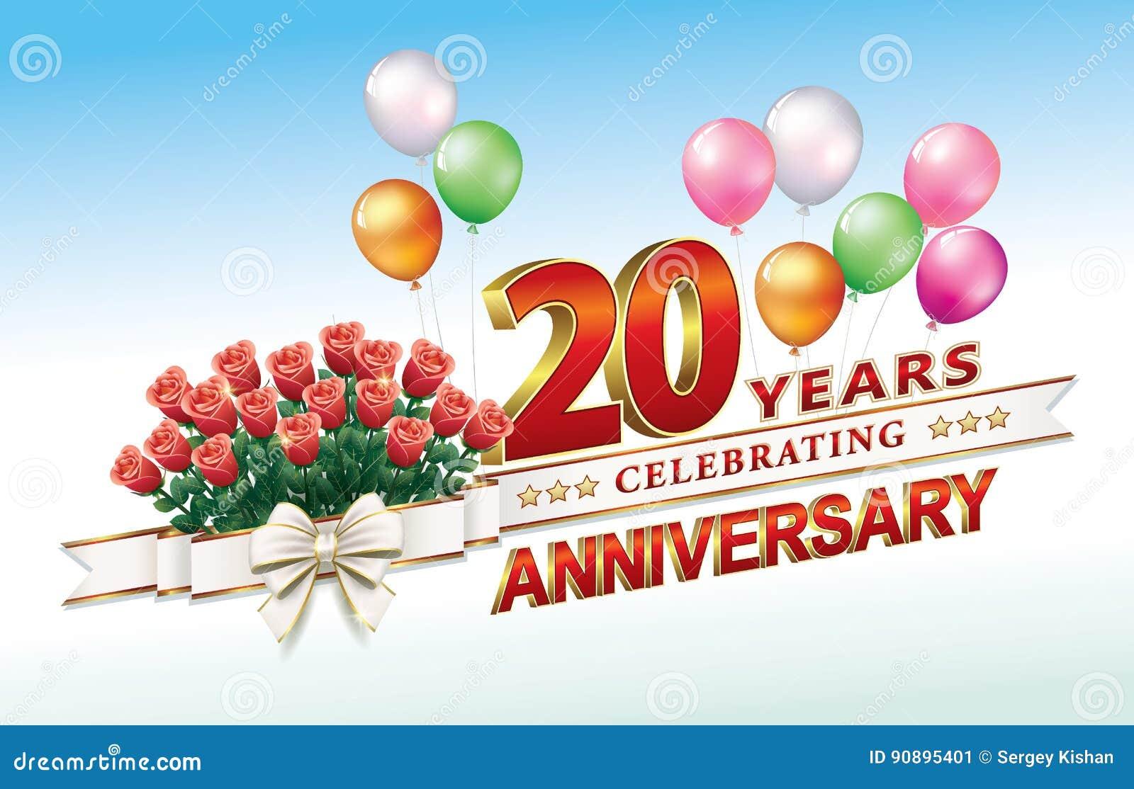 Verjaardag 20 Jaar Vector Illustratie Illustratie Bestaande Uit