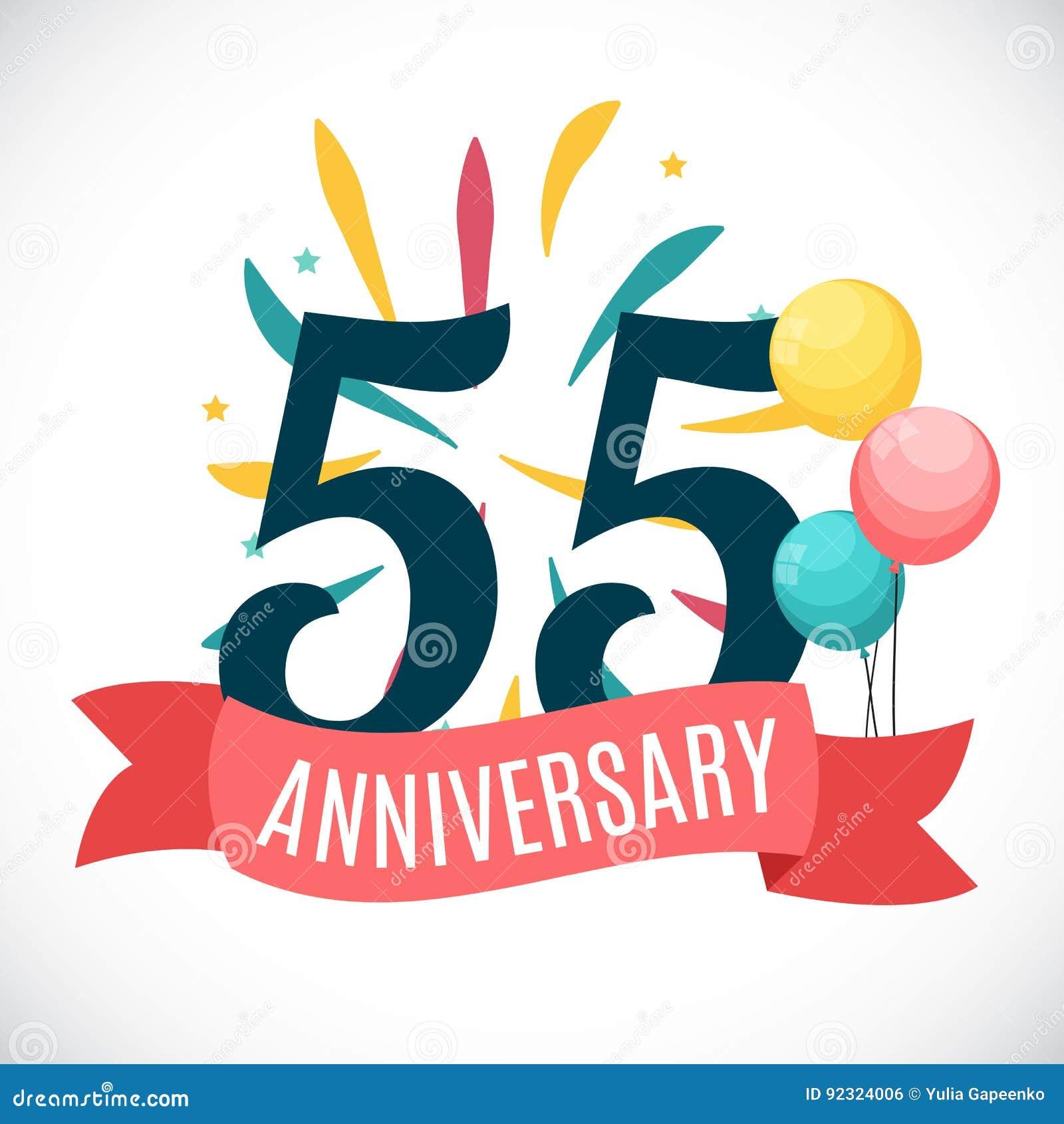 Verjaardag 55 Jaar Malplaatje Met Lint Vectorillustratie Vector