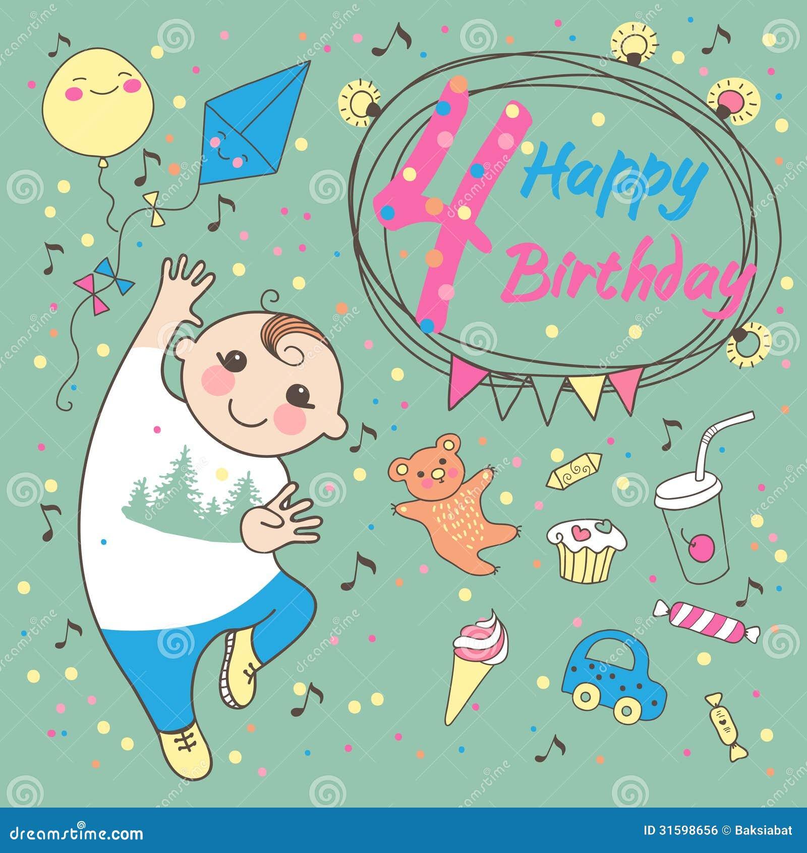 Verjaardag Van De Kleine Jongen 4 Jaar Groetkaart Vector