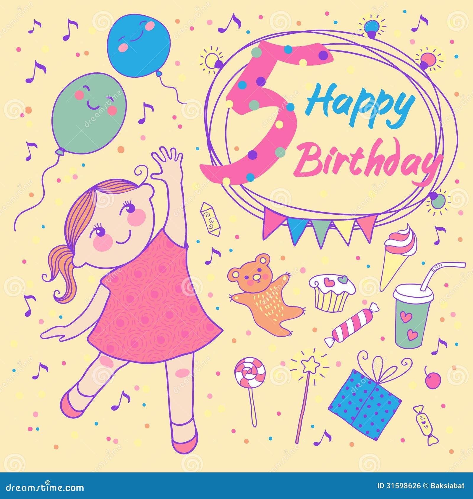Verjaardag Van Het Meisje 5 Jaar. Groetkaart Vector ...