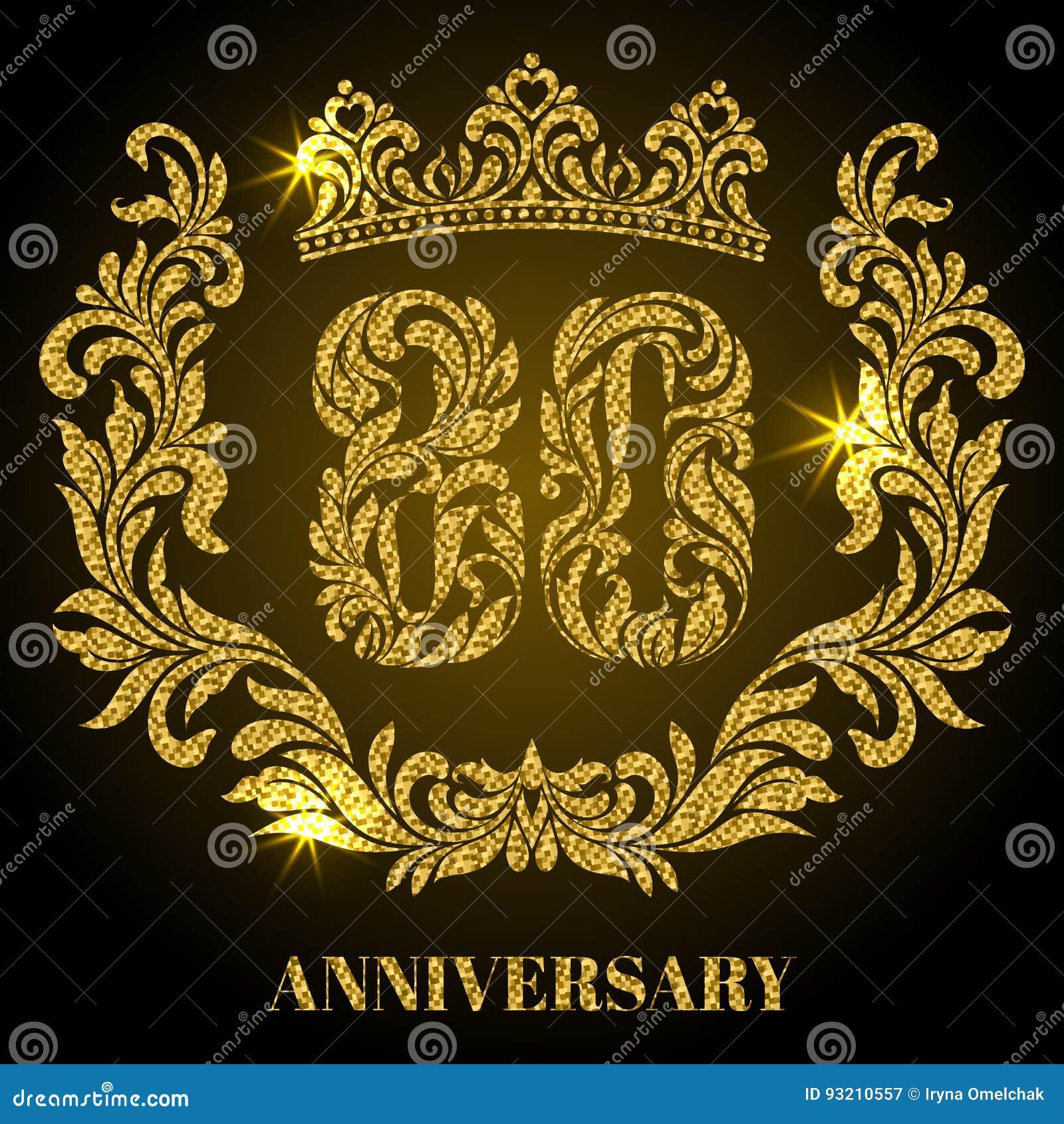 Extreem Verjaardag Van 80 Jaar Cijfers, Kader En Kroon In Wervelingen @UH71