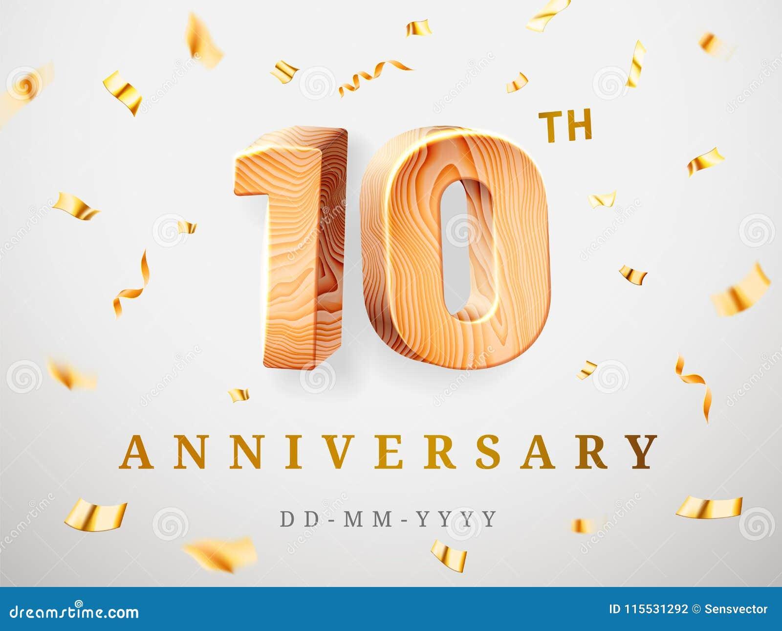 10 verjaardags gouden houten aantallen met gouden confettien Vierings 10de verjaardag, nummer één en nul Malplaatje