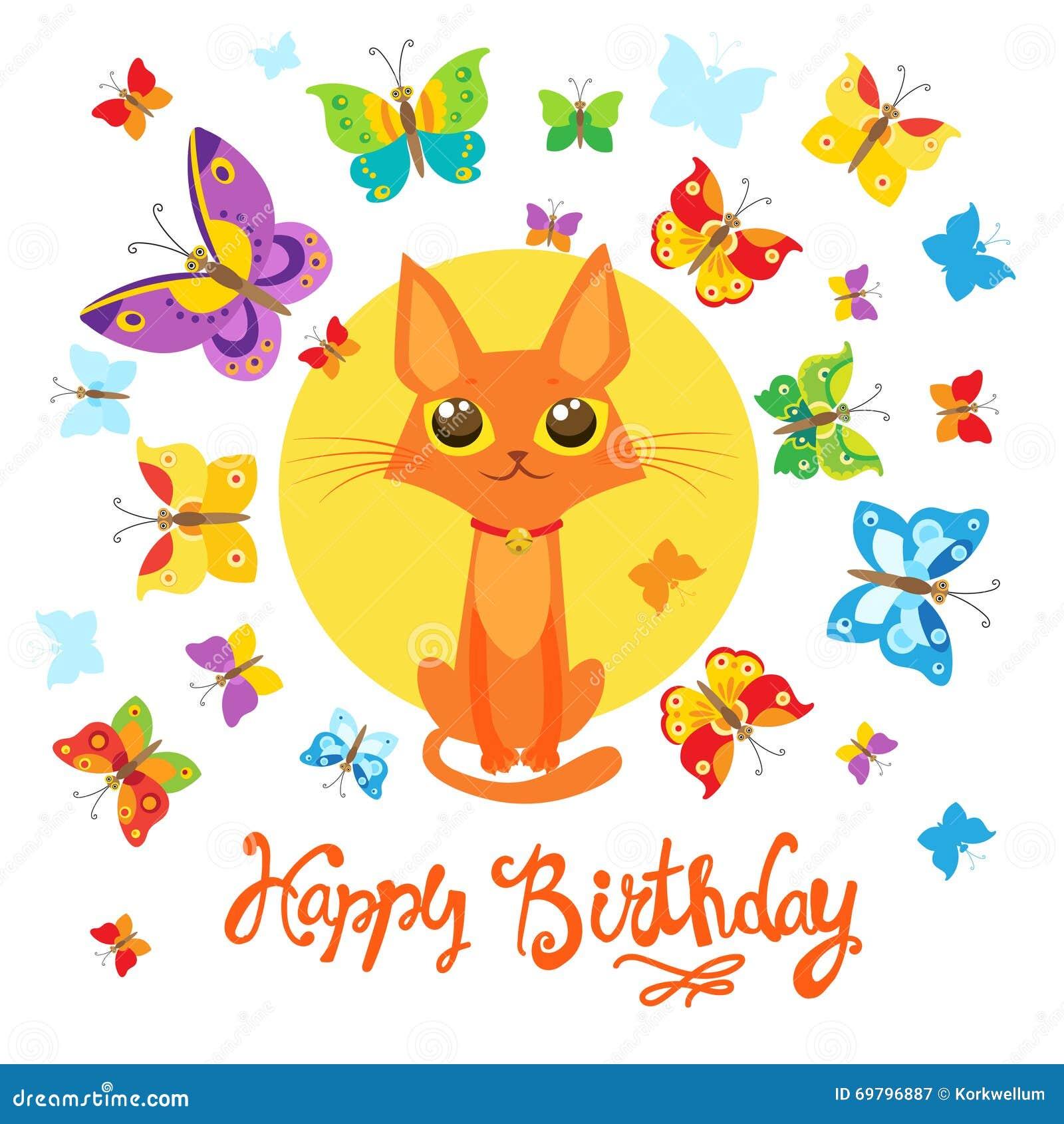 verjaardagskaart met cat and butterfly de kaart van de groet zoete